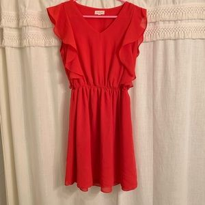 Red flutter sleeve dress